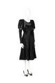 Kort svart sidenklänning med långa ärmar, puffade upptill. Tyll- och banddekor på liv och kjol - Hallwylska museet - 89326.tif