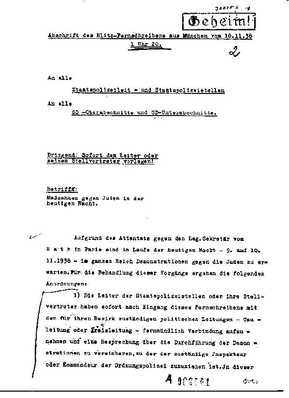 Kristallnacht rh telegram pg1