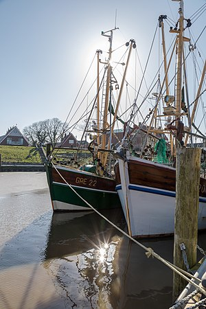 Ships at the harbour, Greetsiel, Krummhörn, Lower Saxony, Germany
