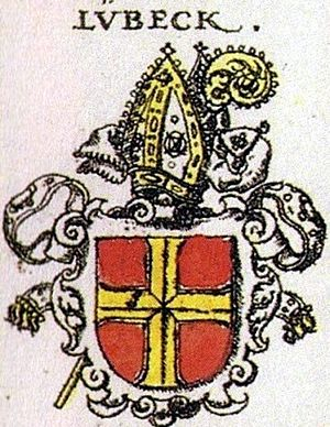 Bishopric of Lübeck - Prince-episcopal coat-of-arms (by Siebmacher, 1605). Later the mitra, originally forming the helm, became part of the shield, which further changed its colour from gules (red) to azure.