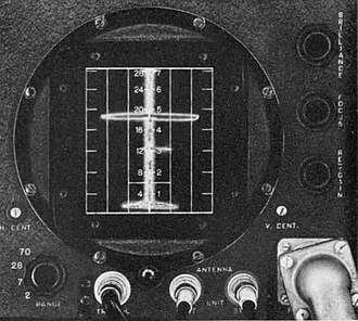 Radar display - The L-scope was basically two A-scopes placed side-by-side and rotated vertically. By comparing the signal strength from two antennas, the rough direction of the blip could be determined. In this case there are two blips, a large one roughly centred and a smaller one far to the right.