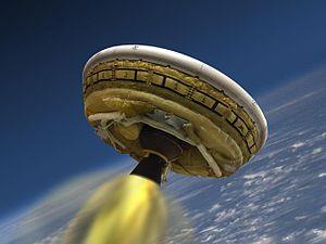 Low-Density Supersonic Decelerator - Artist's rendering of LDSD test vehicle in flight