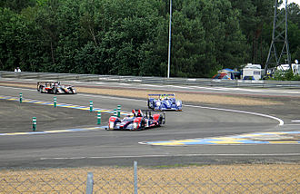 2007 24 Hours of Le Mans - A group of Le Mans Prototypes at Mulsanne Corner during the early laps.