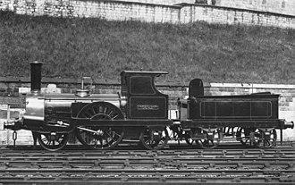 Alexander Allan (locomotive engineer) - Allan's 2-2-2 Columbine, GJR No. 49, LNWR No. 1868 with cab, built 1845 withdrawn 1902