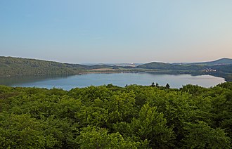 Eifel - View of the Laacher See, one of the lakes in the Volcanic Eifel