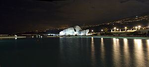 Puerto de la Cruz - Monument to the waves, Lago Martianez (night view). Puerto de la Cruz, Tenerife.