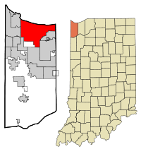 Lake County Indiana Incorporated and Unincorporated areas Gary Highlighted.svg