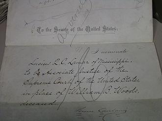Lucius Quintus Cincinnatus Lamar II - Lamar's Supreme Court nomination