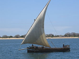 Indian Ocean - A dhow off the coast of Kenya