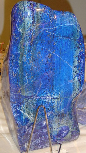 Azure (color) - A slab of lapis lazuli, the mineral from which azure took its name