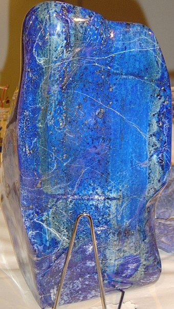 Lapis lazuli owes its blue color to a trisulfur radical anion (S 3) Lapis lazuli block.jpg