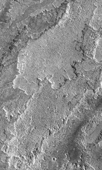 Volcanology of Mars - THEMIS image of lava flows. Note the lobate shape of the edges