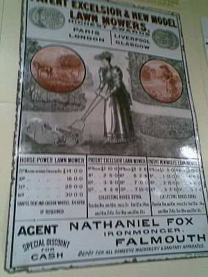 Fox family of Falmouth - Advertisement for lawnmowers, supplied by Nathaniel Fox, ironmonger, of Church Street, Falmouth. He was a son of Joseph (1729–1784) and Elizabeth Fox