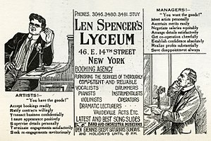 Len Spencer - Advertisement for Len Spencer's Lyceum, ca. 1912.