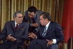 Durant sa visite officielle aux États-Unis, en 1973 Brejnev rencontre Richard Nixon