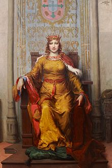 Painting of Queen Leonor wearing a golden gown and seated on a throne