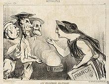"""gravure d'Honoré Daumier, intitulée """"Les Fricoteurs politiques"""""""