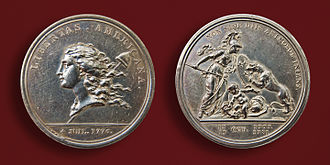 "While in France Franklin designed and commissioned Augustin Dupre to engrave the medallion ""Libertas Americana"" minted in Paris in 1783. Libertas Americana silver medallion 1783.jpg"