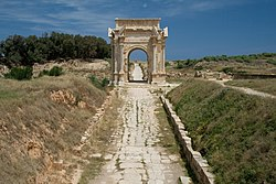 Arch of Roman emperor Lucius Septimius Severus (AD 146-211) in Leptis Magna