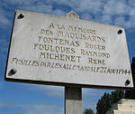 Maquisards fusillés à Ligueil, Indre-et-Loire, près de la ligne de démarcation