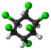 Ball-and-stick model of the lindane molecule (chair conformation)