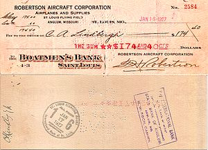 Robertson Aircraft Corporation - Charles Lindbergh's last pay check as an RAC Air Mail pilot.