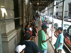 New York City Criminal Court - A line outside the summons court on 346 Broadway in Manhattan