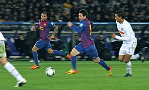 2011 FIFA Club World Cup Final - Lionel Messi in action during the match.