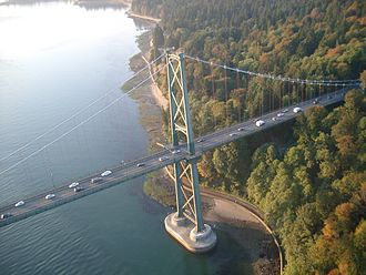 British Columbia Highway 99 - The Lions' Gate Bridge carries Highway 99 between Vancouver and North Vancouver.