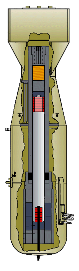 Gun-type fission weapon - The interior of the Little Boy weapon used against Hiroshima. The uranium-235 is indicated in red.