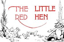 "A simple line drawing with a hen surrounded by chicks on the left and a laughing cat with a frilly collar on the right. The text ""The Little Red Hen"" is in the center in red."