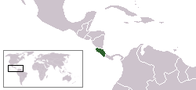 A map showing the location of Costa Rica