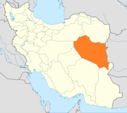 Map of Iran with South Khorasan highlighted