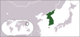 Map showing the location of the Korean Peninsula on a map of East Asia.