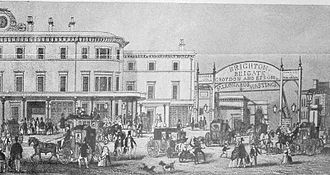 London Bridge station - The South Eastern Station (left) and the temporary Brighton station c. 1850 after the demolition of the Joint station
