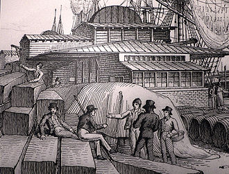 London Docks - At the London Dock in the 1820s, the Customs employed around 250 men and the Excise around 200.
