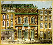 18th-century painting of the King's Theatre, London, and adjacent buildings
