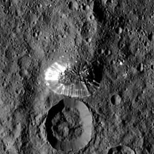 Ahuna Mons - The mountain imaged by the ''Dawn'' spacecraft. North is down.