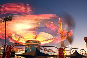 An example of a long exposure with streaking lights. (A fair ride taken with a long shutter speed.)
