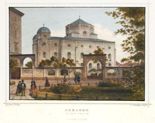 Louis Thümling nach Hermann Krone - Alte Synagoge in Dresden (1850-70)