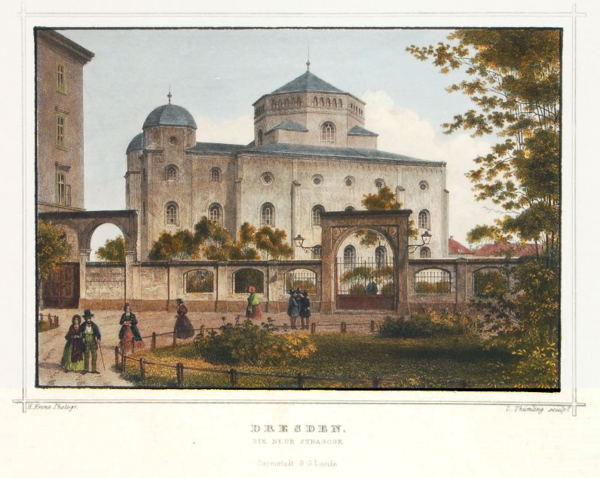 The Semper Synagogue c. 1860 Louis Thumling nach Hermann Krone - Alte Synagoge in Dresden (1850-70).png