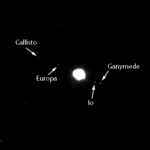 Image of four visible Galilean moons, acquired using the Narrow-Angle Camera on the Mercury Dual Imaging System