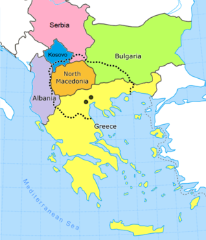 Map of the Balkan peninsula depicting approximate extent of the Macedonian region with borders of modern countries and the former capital cities of ancient Macedonia near the coast