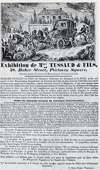 Marie Tussaud - Poster for Tussaud wax figure exhibition in London, 1835