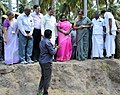 Mahesh Sharma and the Minister of State for Commerce & Industry (Independent Charge), Smt. Nirmala Sitharaman being brief upon the artefacts found at the archaeological excavation site, at Keeladi Village near Madurai.jpg