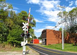 Main Street crossing the railroad tracks in Cedar Hill