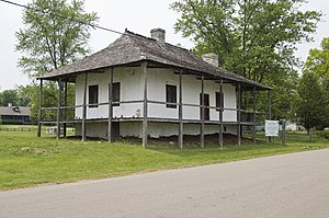 American colonial architecture - Bequette–Ribault House in Ste. Geneviève, Missouri, built 1778, French colonial
