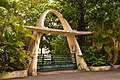 Maison moderniste, Villa Monplaisir, porche d'entrée. Martinique, Fort-de-France, quartier Bellevue. Classé Monument historique. Architecte Louis Caillat, 1932-.jpg
