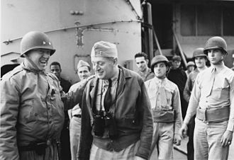 USS Augusta (CA-31) - General Patton with Admiral Hewitt aboard Augusta off the coast of North Africa.