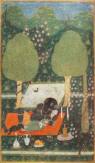 Ifrit - Makhan embraced by an Ifrit. Illustration to Nizami's poem Hamsa. Bukhara, 1648.